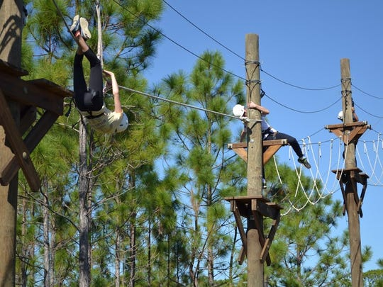 Sun Grove Montessori Middle School students take on the Florida Tech Challenge Course.
