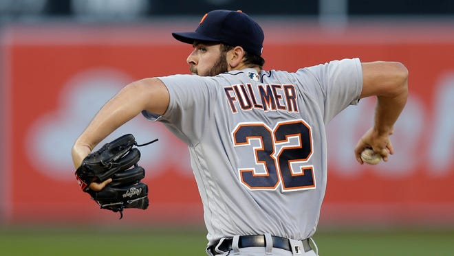 Tigers pitcher Michael Fulmer works against the Athletics in the first inning Friday in Oakland, Calif.
