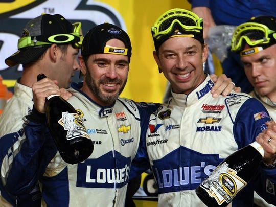 Johnson and Knaus after winning the 2016 Cup Series championship. (John David Mercer, USA TODAY Sports)