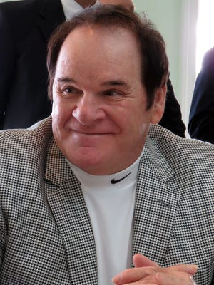 Pete Rose was the guest of honor at the All Sports Association banquet Friday evening in Destin. He is shown here during an interview in a pre-banquet press gathering in the HarborWalk Village complex.
