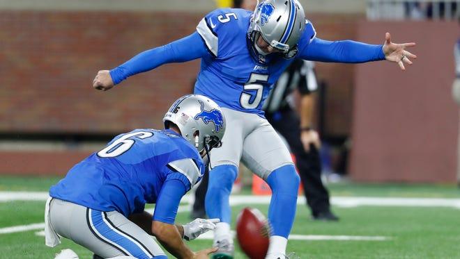 Detroit Lions kicker Matt Prater (5) kicks a 27-yard field goal against the Washington Redskins during an NFL football game in Detroit, Sunday, Oct. 23, 2016. Detroit won 20-17.