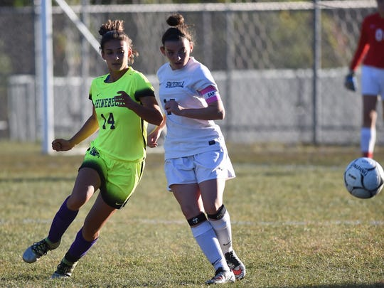 Rhinebeck High School's Stephanie Cassens, left, runs past a Spackenkill player on Oct. 6 at Spackenkill.