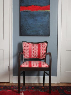"""Amanda Brown updated this chair for a tutorial, """"Upholstery Basics: Picture Perfect Backs,"""" for the design blog Design*Sponge."""