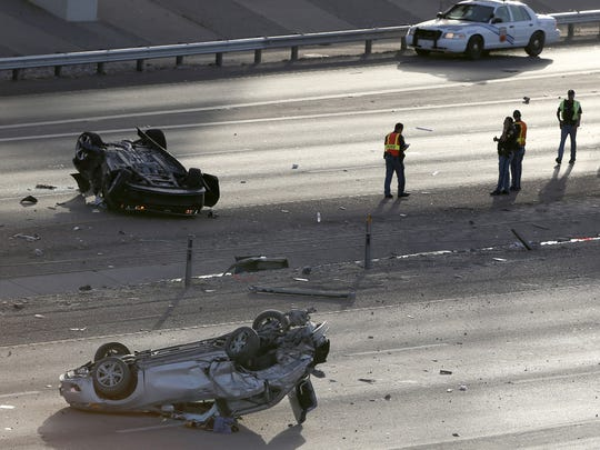 El Paso police investigate a multi-vehicle accident on Interstate 10 East at Sunland Park Drive Monday.