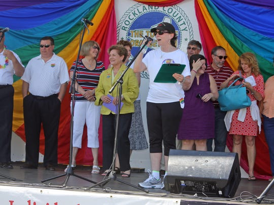 Phyllis Frank addresses the crowd at Gay Pride festivities in 2014.