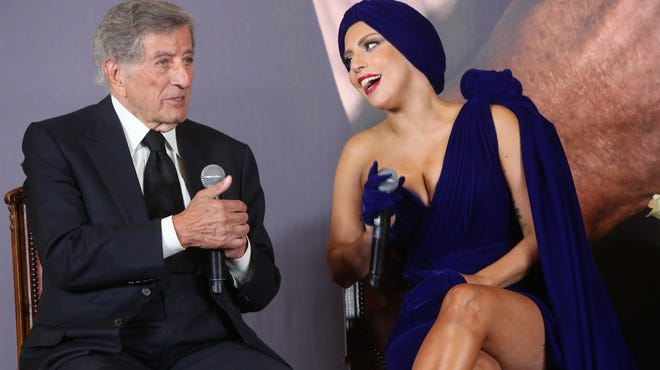 Tony Bennett and Lady Gaga attend a news conference about the album at City Hall on Sept. 22 in Brussels.