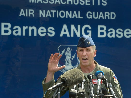 Col James Keefe, 104th Fighter Wing Commander, Massachusetts Air National Guard speaks to the media outside Barnes Air National Guard base in Westfield Massachusetts about the loss of one their F15C fighter jets over the Shenandoah Valley in Virginia this morning, August 27, 2014. No information was given about the status of the pilot or the pilot's identity.  (Michael S. Gordon / The Republican)