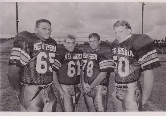 New Iberia's 1992 defensive front featured Derrone Bernard (65), Toby Blanchard (61), Barron Lasseigne (78) and Chris Borel (50).