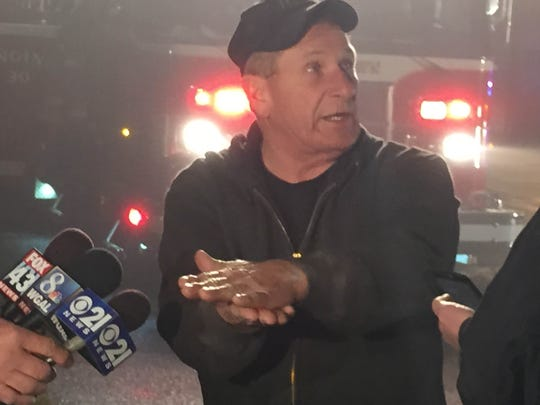 Gary Deck Sr., manager of Deck Airport in Jackson Township, explains how a single-engine plane crashed on take off Tuesday night, injuring the four men inside it.