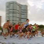 Instead of a swim, competitors started with a beach dash to the bike section, followed by a much longer beach run.