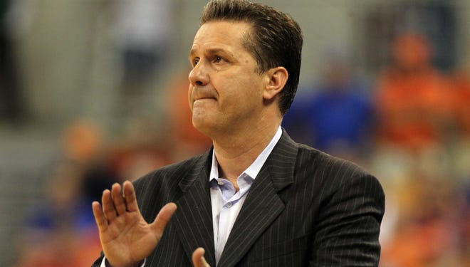 Kentucky Wildcats coach John Calipari reacts during a game last season.