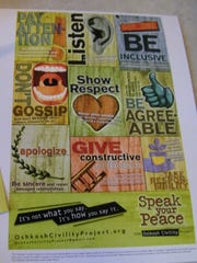 An Oshkosh Civility Project poster depicts the nine