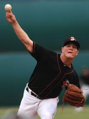 Delmarva Shorebirds starting pitcher Dylan Bundy delivers