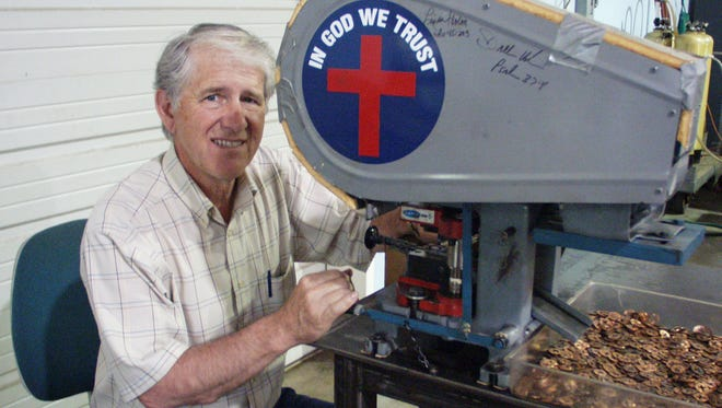 Steve Petty of Cross Penny Ministries started stamping crosses into pennies in 1998 through his machine shop. To date, his company has done about 7.5 million.