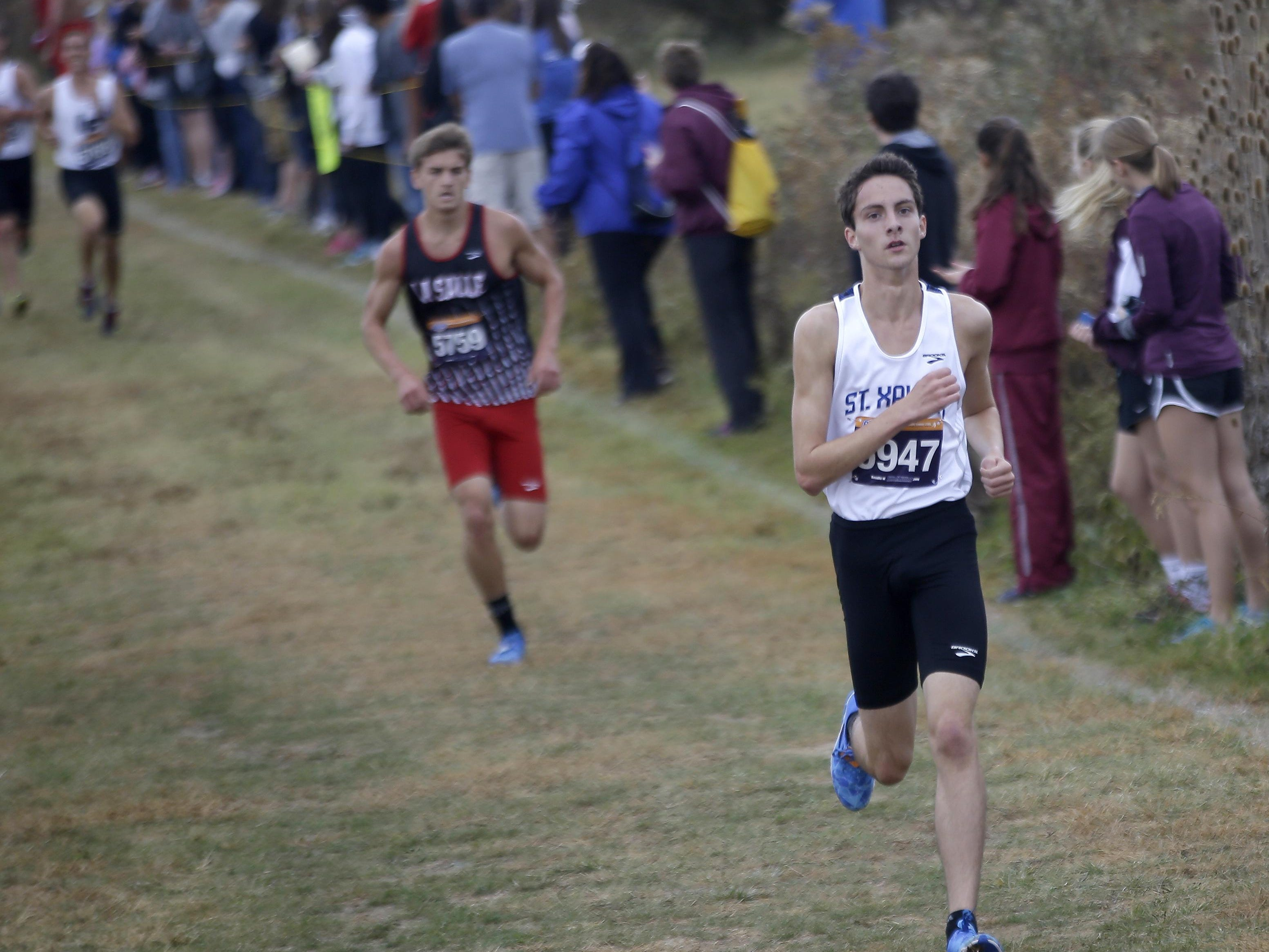 St. Xavier's Austin Angeline finished third in the boys Division I, district 2 race at Voice of America Park on Oct. 24.