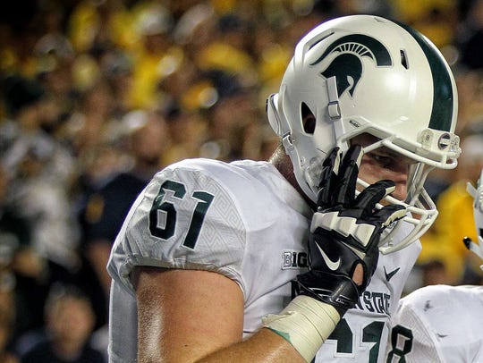 Michigan State offensive tackle Cole Chewins.