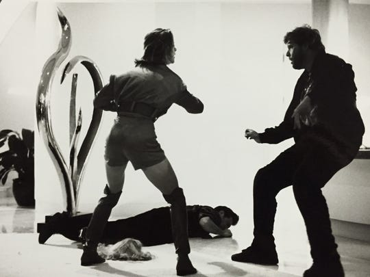 Joy Taylor's stainless steel sculpture, Emergence, was featured in a scene in the 1993 movie, 'Point of No Return,' starring Bridget Fonda (pictured).