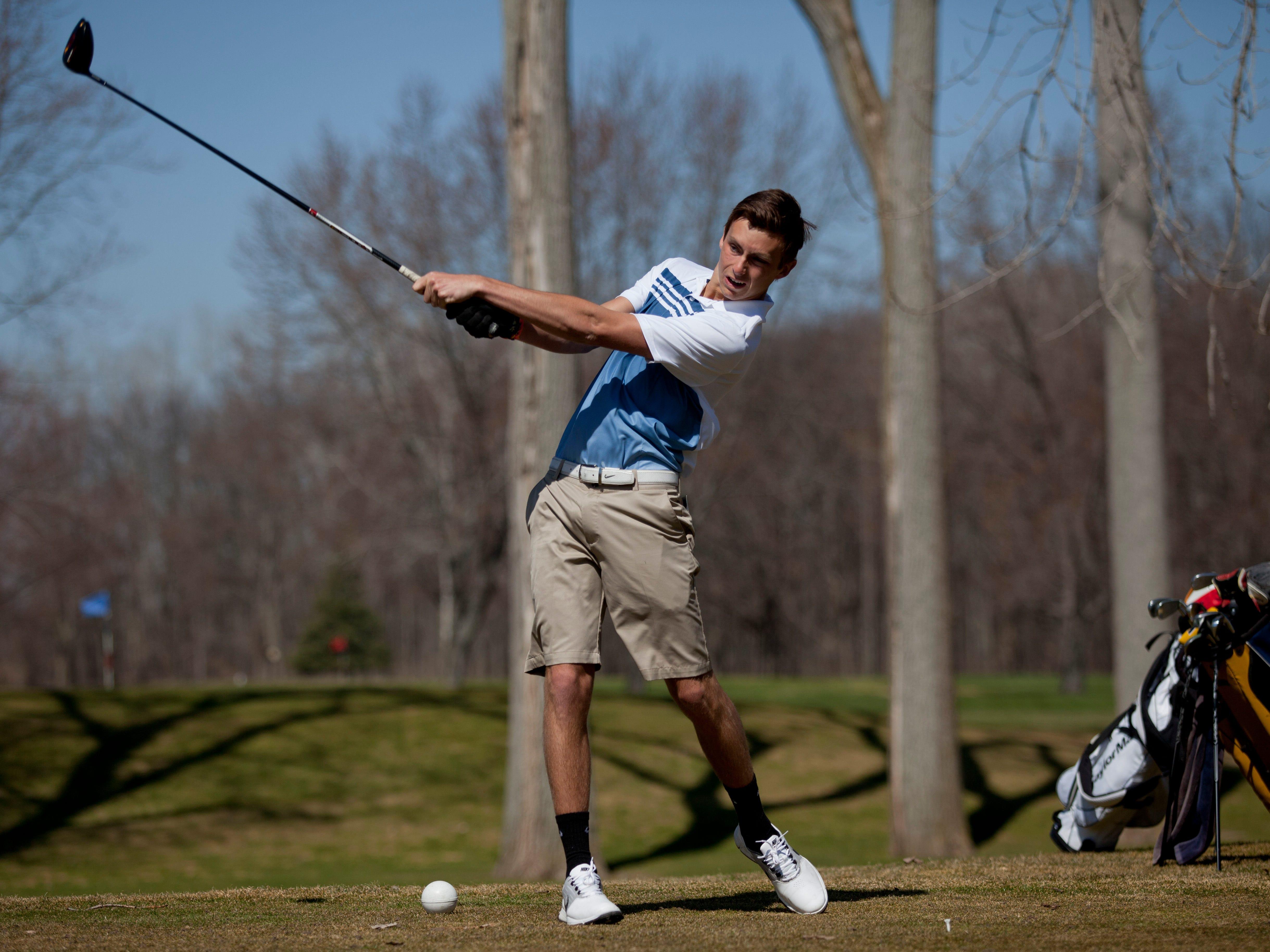 Port Huron Northern senior Nick Vranish, 18, tees off Friday, April 17, 2015 at the Port Huron Elks Golf Club in Port Huron Township.