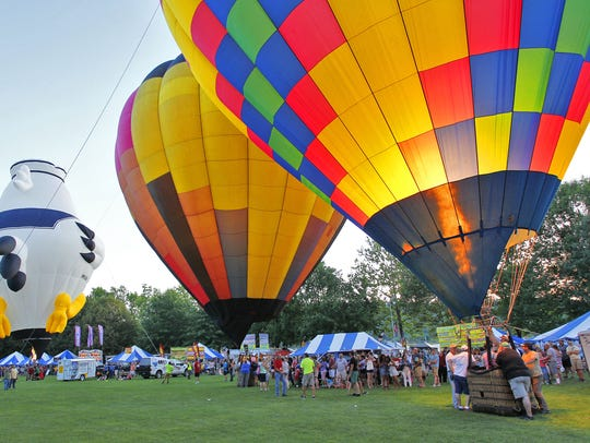 Hot air balloons were lit during the 2016 Spiedie Fest.