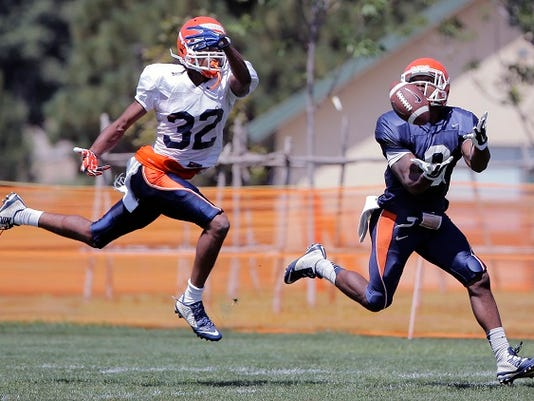 MARK LAMBIE-EL PASO TIMES  UTEP wide receiver Jaquan White catches a touchdown pass past defensive back Kalon Beverly during the team's first scrimmage Tuesday at Camp Ruidoso.