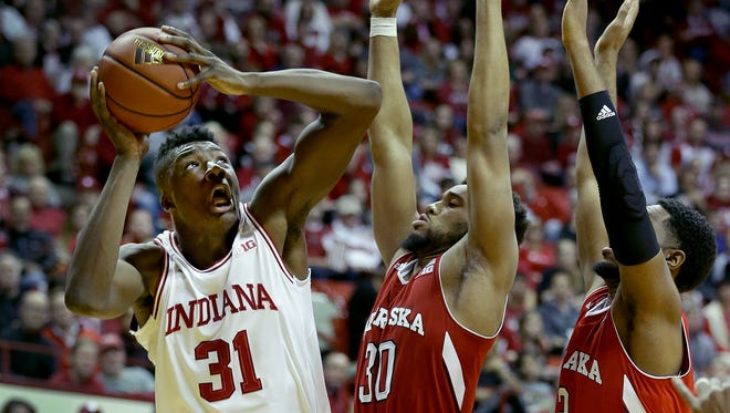 Rochester native Thomas Bryant (31), projected as a first-round NBA Draft pick last year, has slipped to the second round after his sophomore year for the Hoosiers.