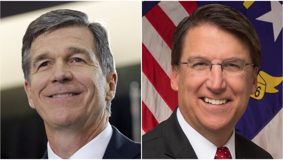 Roy Cooper, left, and Pat McCrory