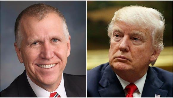 Sen. Thom Tillis, left, and President Donald Trump