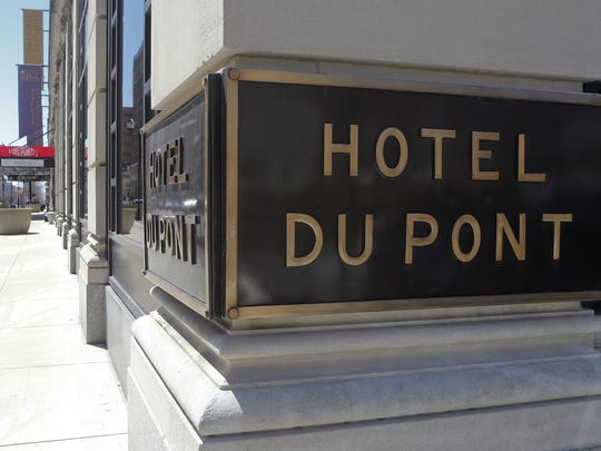 WILLIAM BRETZGER/THE NEWS JOURNAL The DuPont Co. would not confirm reports that its hotel and golf course are for sale. The Hotel DuPont, seen Saturday, April 11, 2015.