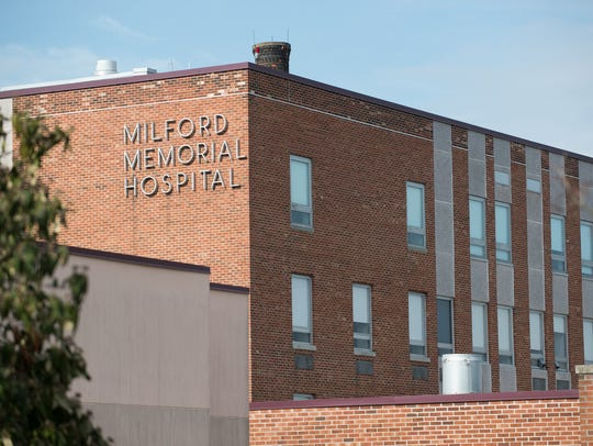 View of Milford Memorial Hospital.  The hospital property