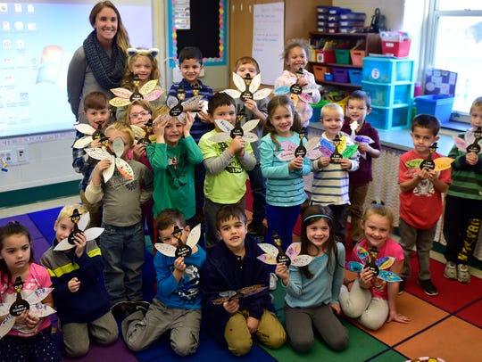 Students in Kathleen Feairheller's kindergarten class