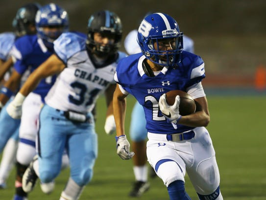 Bowie's Patrick Moran runs for yardage  earlier this