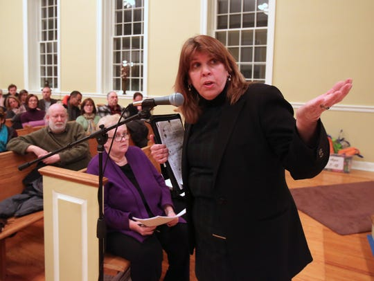 South Nyack resident Annie Hekker Weiss speaks during