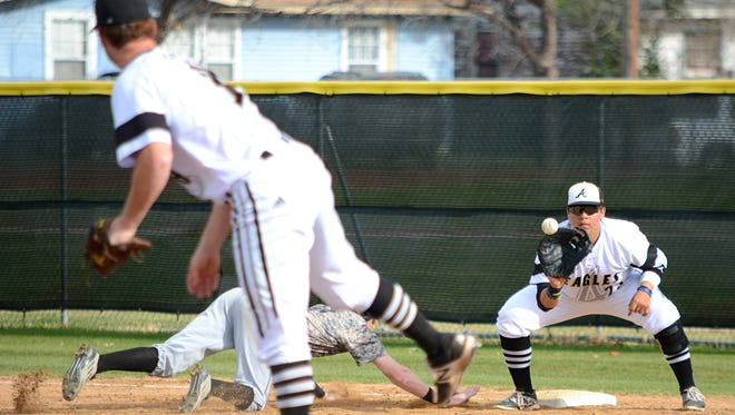 Abilene High first baseman Jon Michael Allelo catches a pickoff throw from pitcher Andrew Bennett during the Eagles' 7-6 walk-off win over Keller Fossil Ridge on Friday at Blackburn Field.