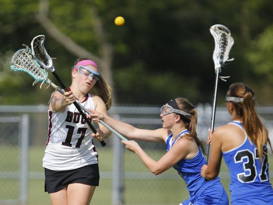 Madeline Kelly (17) of Red Bank scores a goal against