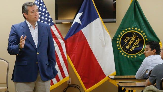 Republican U.S. Sen. Ted Cruz speaks at a town hall meeting with U.S. Border Patrol agents in August in El Paso.