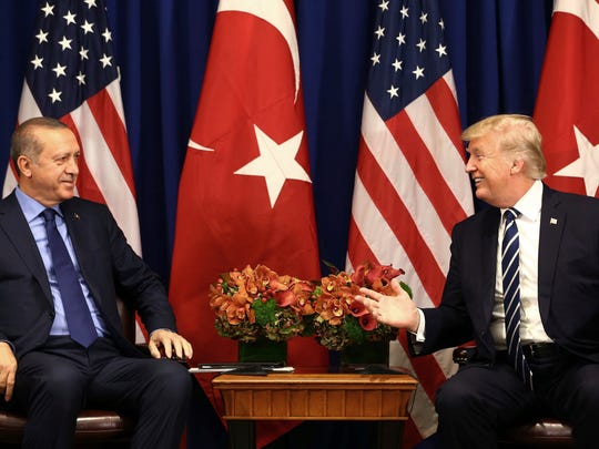 Turkey's President Recep Tayyip Erdogan, left, and President Donald Trump speak at the start of their meeting in New York Sept. 21. One of the issues discussed was Turkey's continued imprisonment of Andrew Brunson, a Christian missionary from Black Mountain.