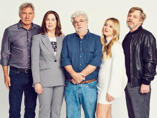 Harrison Ford, Kathleen Kennedy, George Lucas, Billie