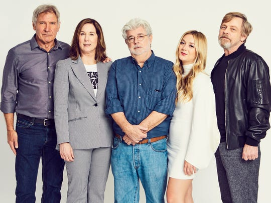 Harrison Ford, Kathleen Kennedy, George Lucas, Billie Lourd and Mark Hamill pose for a shot at 'Star Wars' Celebration in Orlando.
