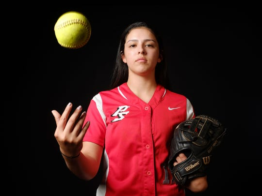 Palm Springs softball player Davia Hines at Desert Sun March 22, 2017 in Palm Springs.