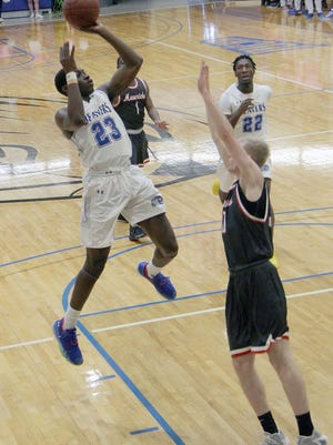 Pratt Community College freshman Tommy Thomas (#23) hits a two pointer against the Northwest Kansas Technical College Mavericks in a game dominated by the Beavers who went on to take a convincing 87-58 win.