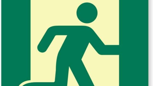An emergency exit sign