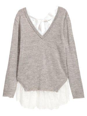 Lace-trimmed    sweater, $19.99,    H&M, Cordova Mall.
