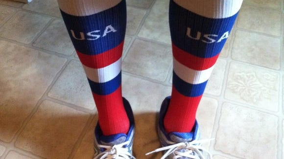Patriotic socks for the Fourth of July.