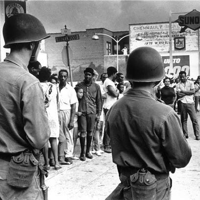 Troops on Linwood Avenue in Detroit, during the July