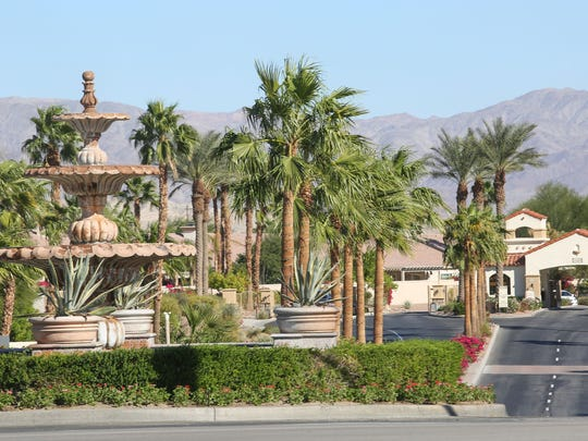 The entrance to Sun City Shadow Hills on Jefferson