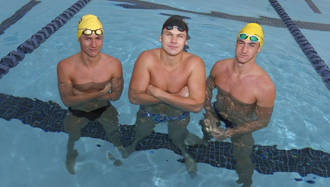 From left, Phoenix Pinnacle's Aaron Apel, Phoenix Brophy Prep's Jack Blake and Scottsdale Chaparral's Ryan Hoffer are finalists for the Arizona Sports Awards, presented by Arby's, Boys Swimming Athlete of the Year.