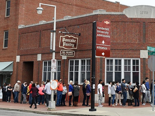 A long line forms around the Pancake Pantry in Hillsboro
