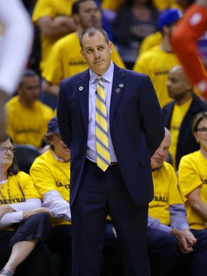 Indiana Pacers head coach Frank Vogel watches the action on the court in the final moments of the second half of game 6 in an NBA basketball playoff game, Friday, April 29, 2016, at Bankers Life Fieldhouse. Pacers won 101-83.