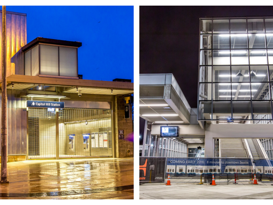 Capitol Hill Station (left) and University of Washington Station in Seattle.