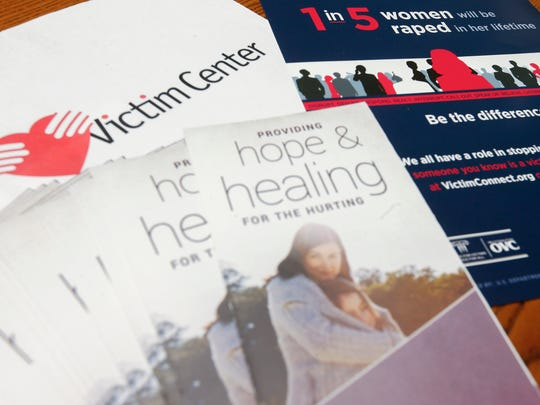 Pamphlets and literature to provide information and help victims of rape and sexual assault at the Victim Center.